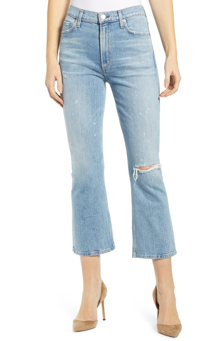 Demy Ripped High Waist Crop Flare Jeans by Citizens Of Humanity
