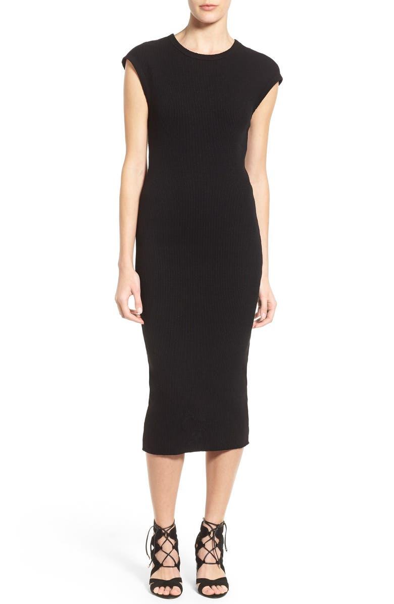 JAMES PERSE Rib Cap Sleeve Midi Dress, Main, color, 001