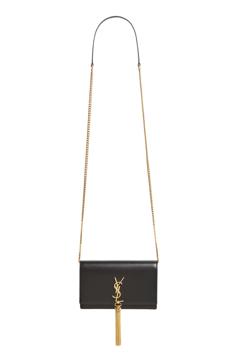SAINT LAURENT Small Monogram Calfskin Leather Wallet on a Chain, Main, color, NERO