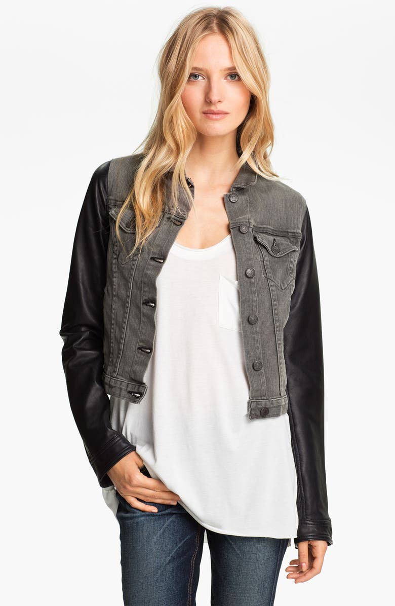 RAG & BONE Leather Sleeve Jean Jacket, Main, color, 020
