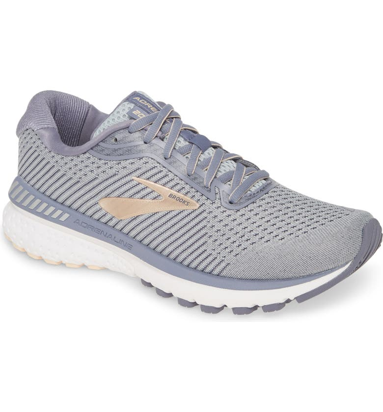 BROOKS Adrenaline GTS 20 Running Shoe, Main, color, GREY/ PALE PEACH/ WHITE