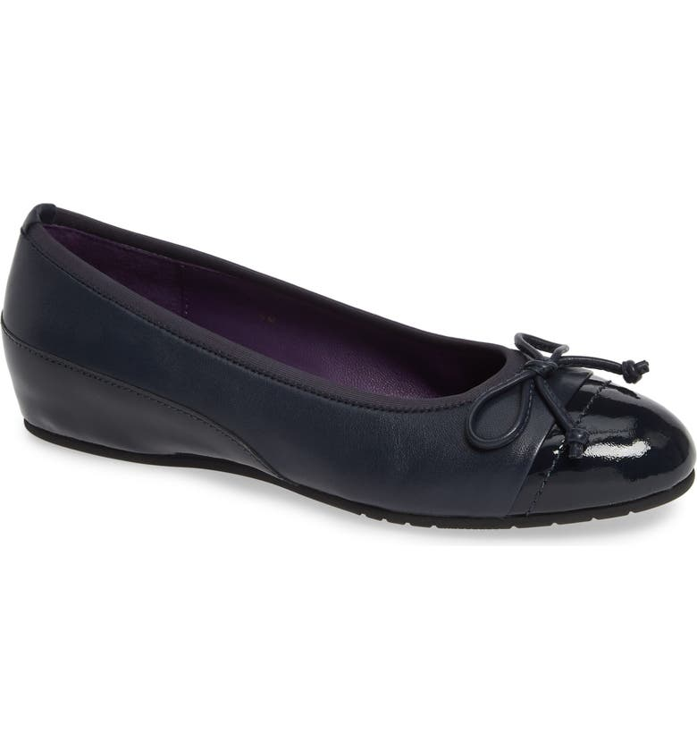 VANELI Pontus Bow Ballet Wedge, Main, color, NAVY LEATHER
