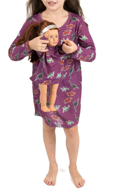 Image of Leveret Dinosaur Nightgown & Matching Doll Nightgown