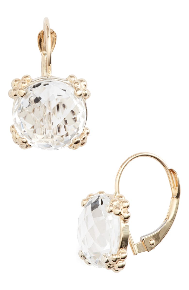 ANZIE Dew Drop White Topaz Cluster Drop Earrings, Main, color, GOLD