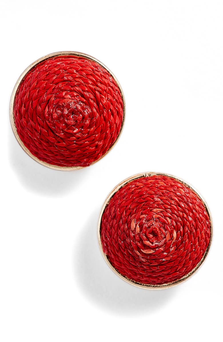 AKOLA Raffia Stud Earrings, Main, color, RED