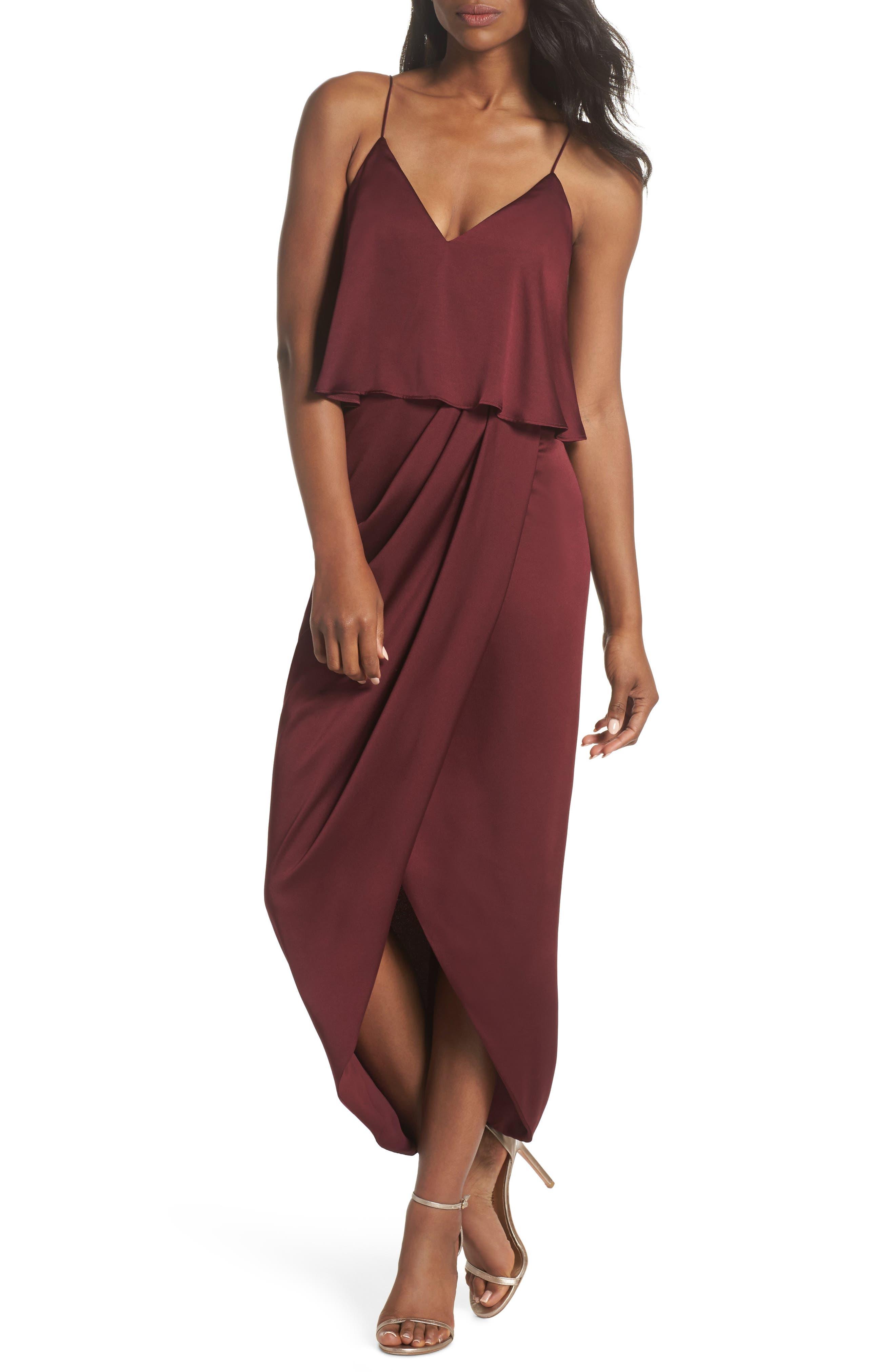 Shona Joy Luxe Frill Tulip Hem Maxi Dress, Red