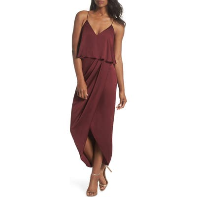 Shona Joy Luxe Frill Tulip Hem Maxi Dress, Red