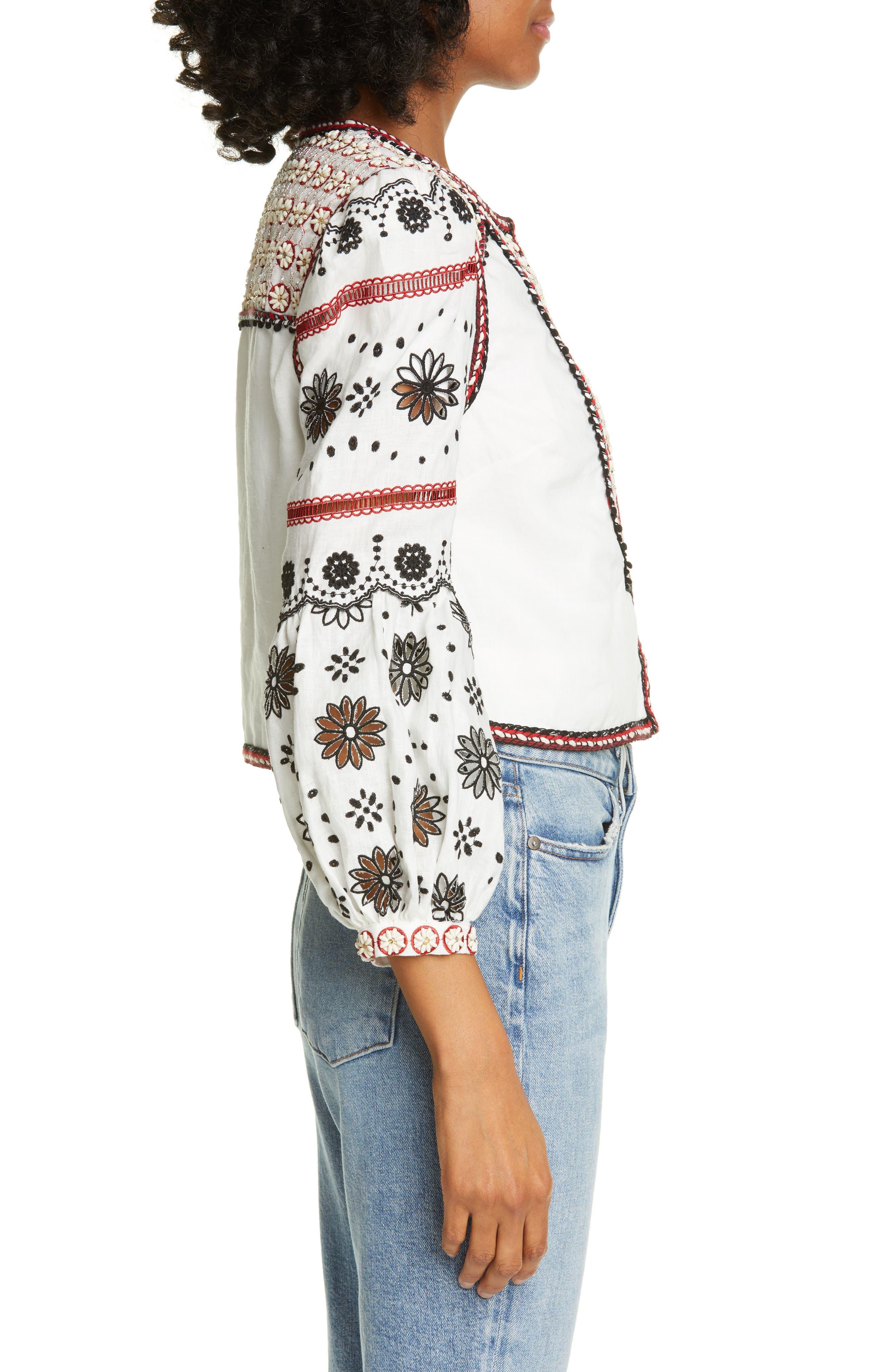,                             Shilin Embellished Linen Jacket,                             Alternate thumbnail 4, color,                             OFF-WHITE