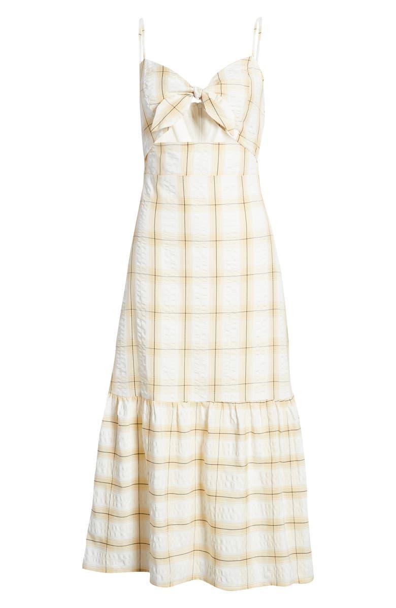 ENGLISH FACTORY Check Print Maxi Dress, Main, color, YELLOW