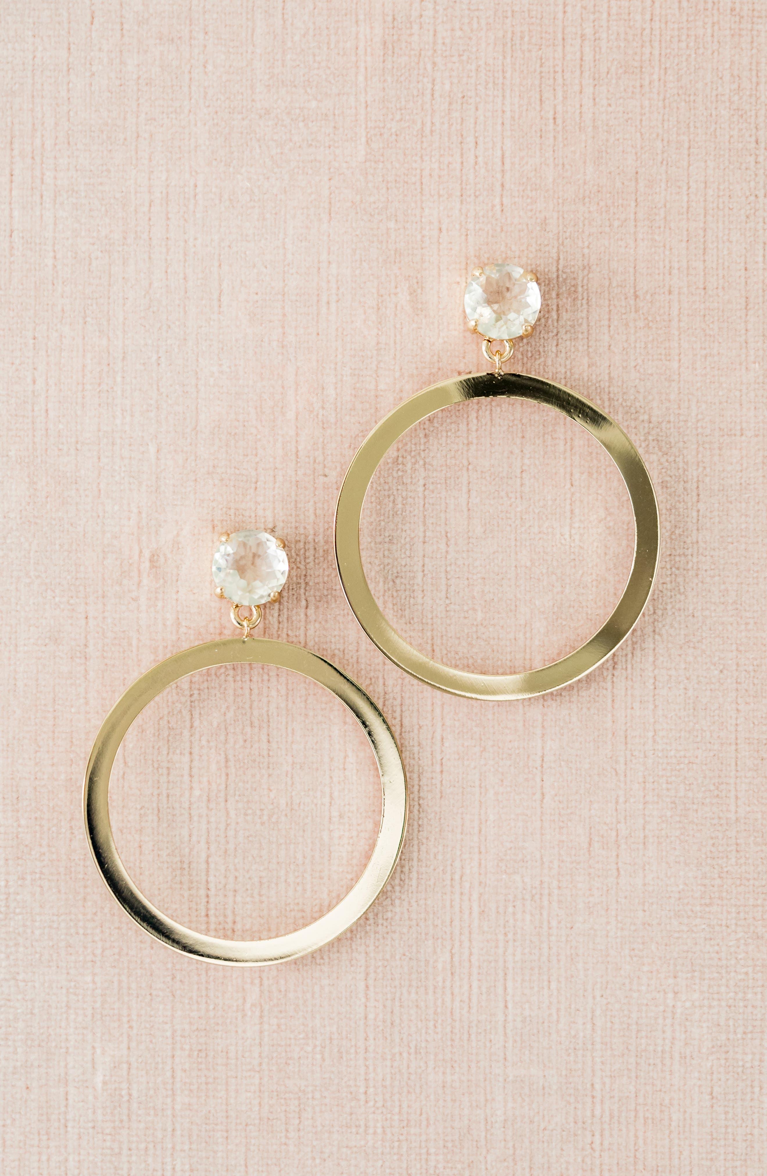 ,                             Crystal Frontal Hoop Earrings,                             Alternate thumbnail 8, color,                             710
