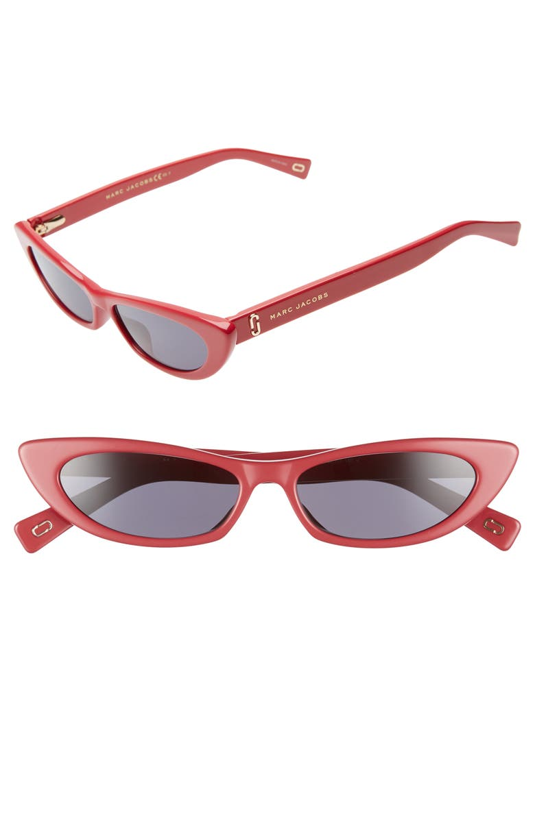 MARC JACOBS 52mm Cat Eye Sunglasses, Main, color, RED