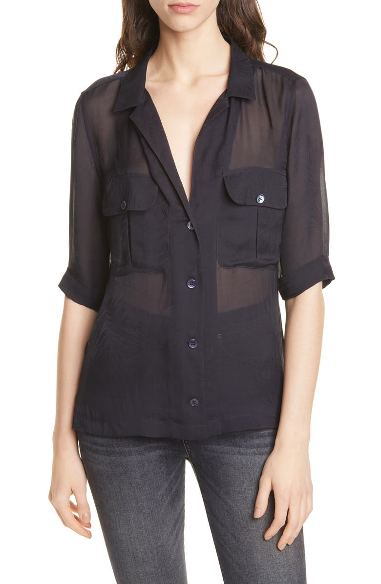 EQUIPMENT Parnella Tonal Pattern Elbow Sleeve Silk Shirt, Main, color, ECLIPSE