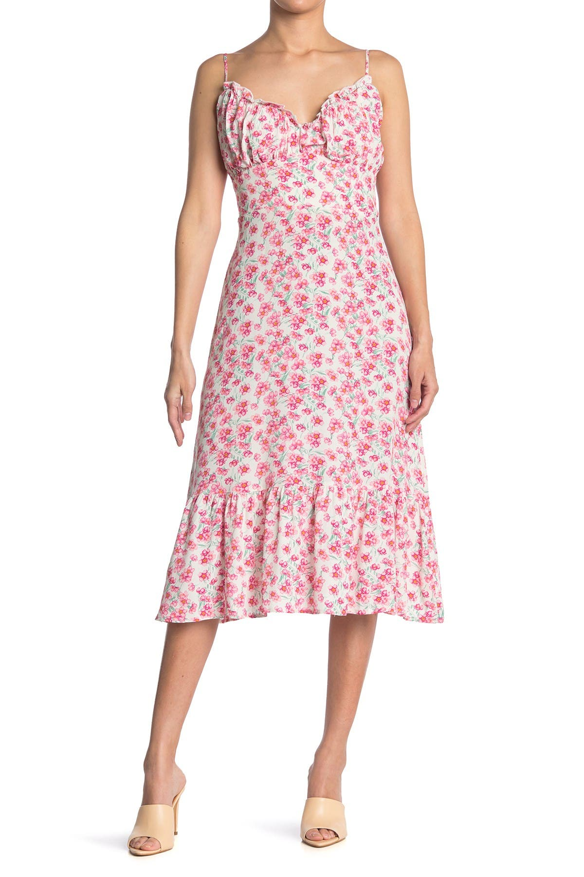 Image of ROW A Floral Strappy Midi Dress