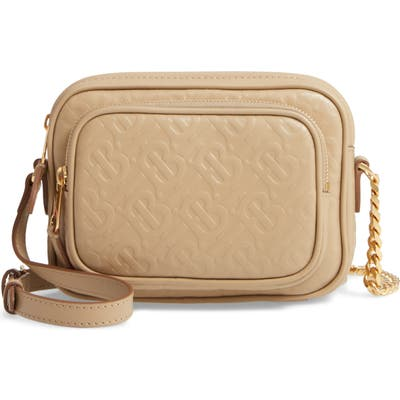 Burberry Small Monogram Leather Camera Bag - Beige