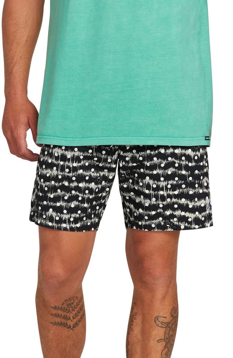 VOLCOM Remote Elastic Waist Shorts, Main, color, WHITE FLASH