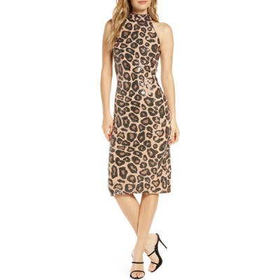 Sho Sequin Cheetah Pattern Cocktail Dress
