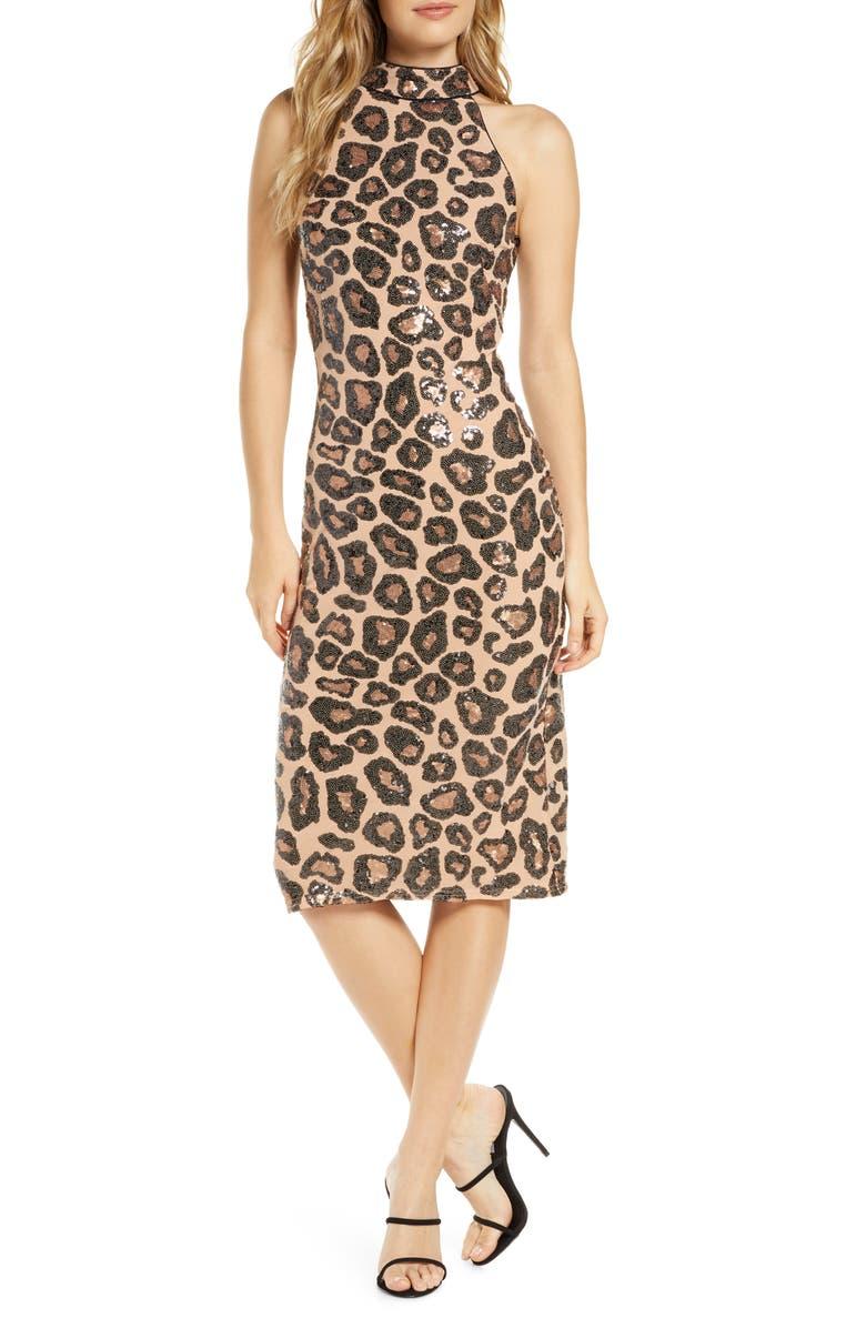 TADASHI SHOJI Sequin Cheetah Pattern Cocktail Dress, Main, color, CHEETAH PRINT