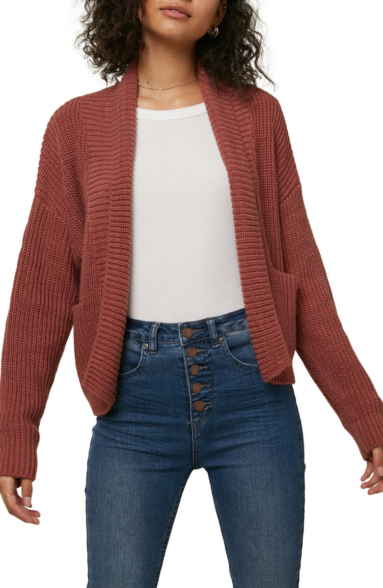 O'NEILL Anchor Shawl Collar Cardigan, Main, color, ROAN ROUGE