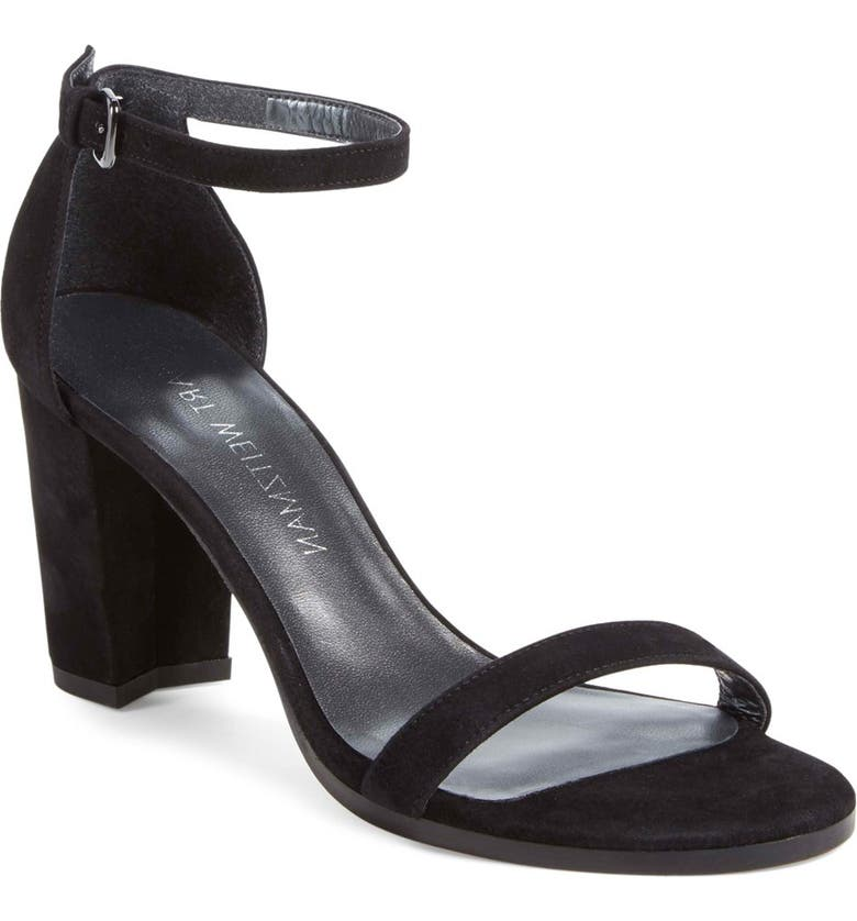 STUART WEITZMAN NearlyNude Ankle Strap Sandal, Main, color, BLACK SUEDE