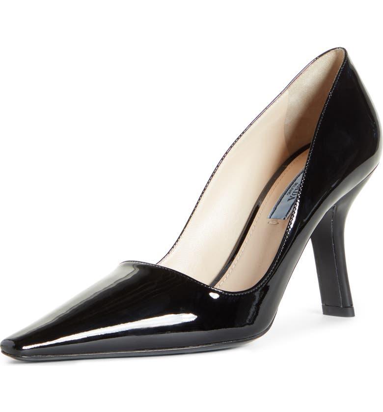 PRADA Asymmetrical Heel Pump, Main, color, BLACK PATENT