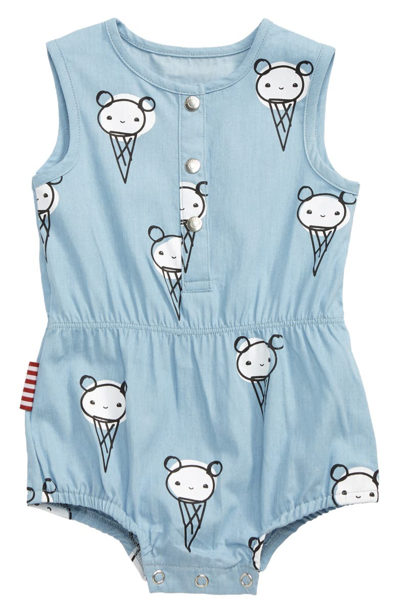 SOOKIBABY Ice Cream Chambray Romper, Main, color, CHAMBRAY