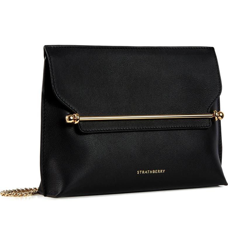 STRATHBERRY East/West Stylist Leather Shoulder Bag, Main, color, BLACK