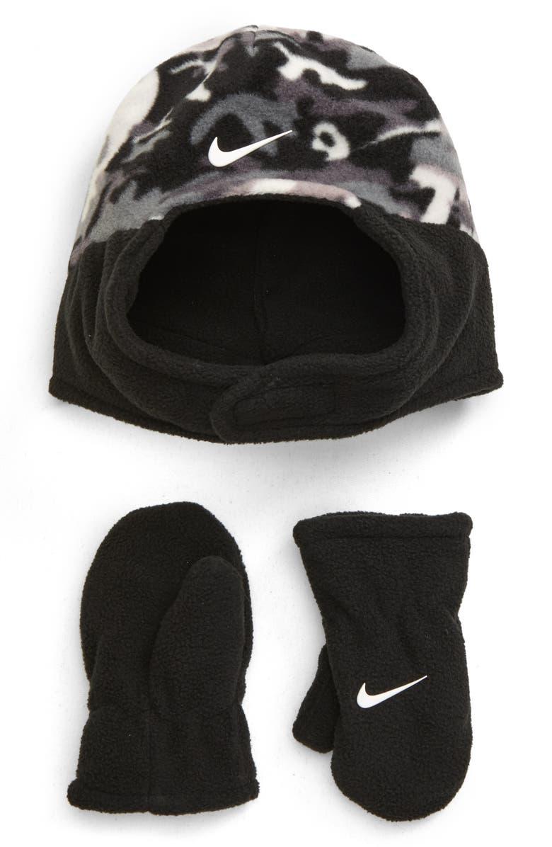 NIKE Swoosh Trapper Hat & Mittens Set, Main, color, GREY CAMO