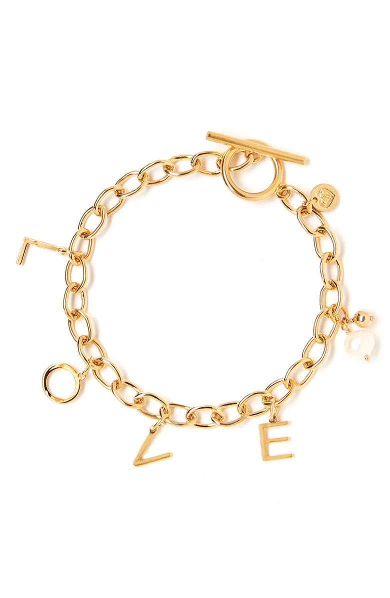 TESS + TRICIA Word Charm Bracelet, Main, color, GOLD LOVE
