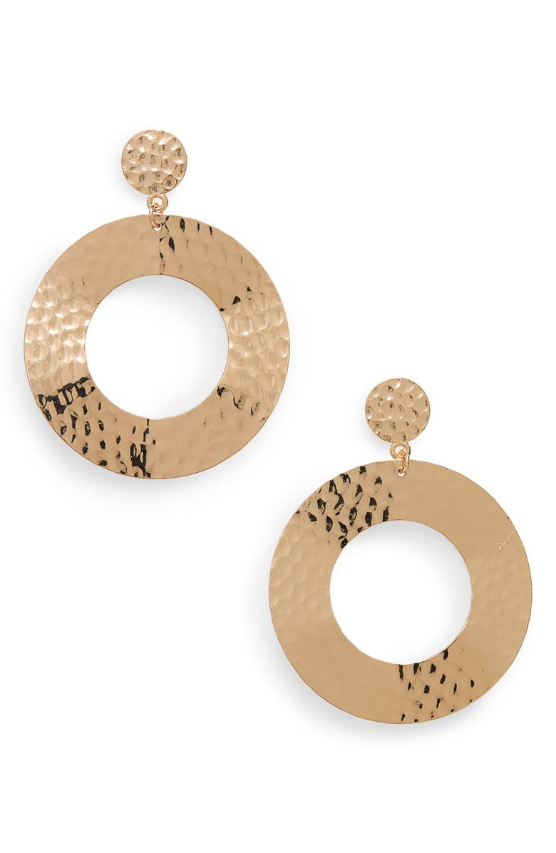 PANACEA Hammered Circle Earrings, Main, color, GOLD