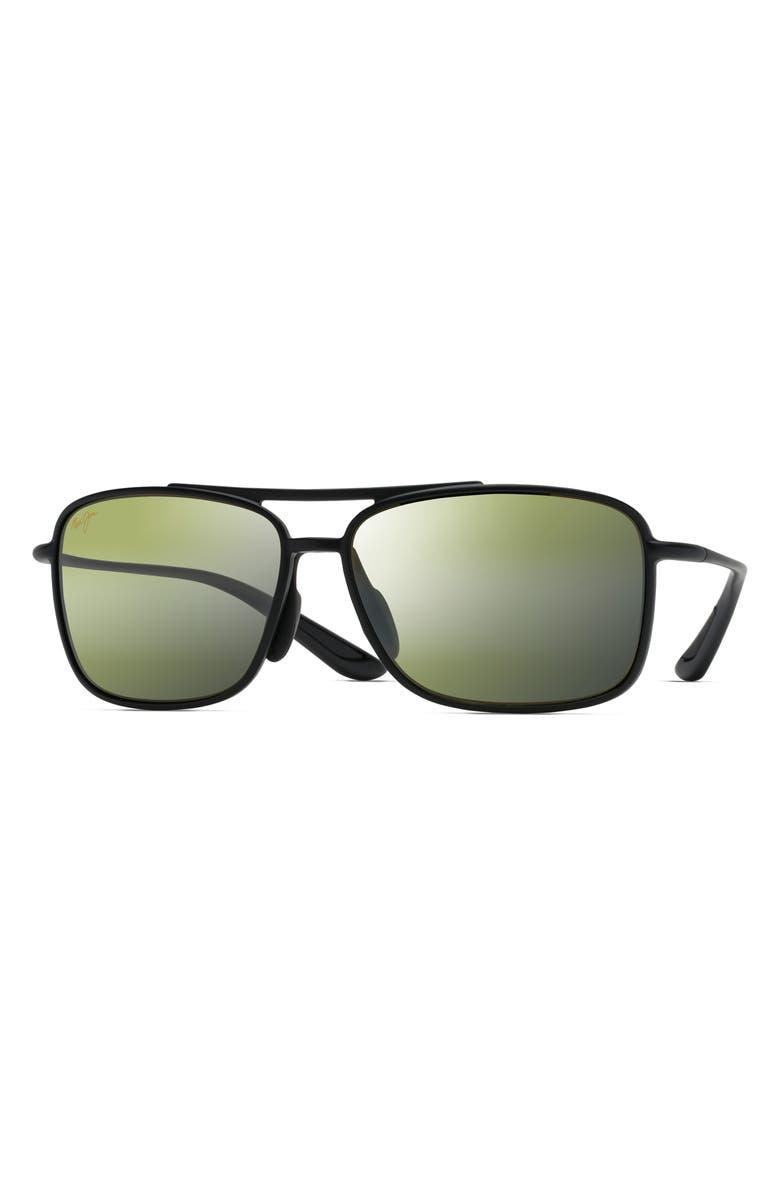 MAUI JIM Kaupo Gap 61mm PolarizedPlus2<sup>®</sup> Sunglasses, Main, color, MATTE BLACK