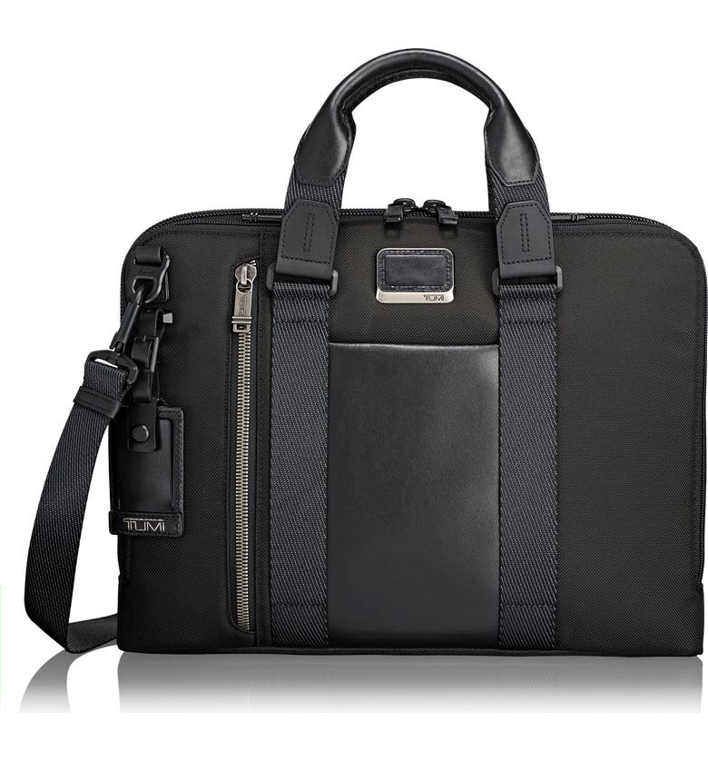 TUMI Alpha Bravo - Aviano Slim Briefcase, Main, color, BLACK