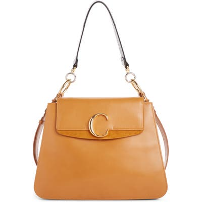 Chloe Medium C Leather Shoulder Bag - Brown