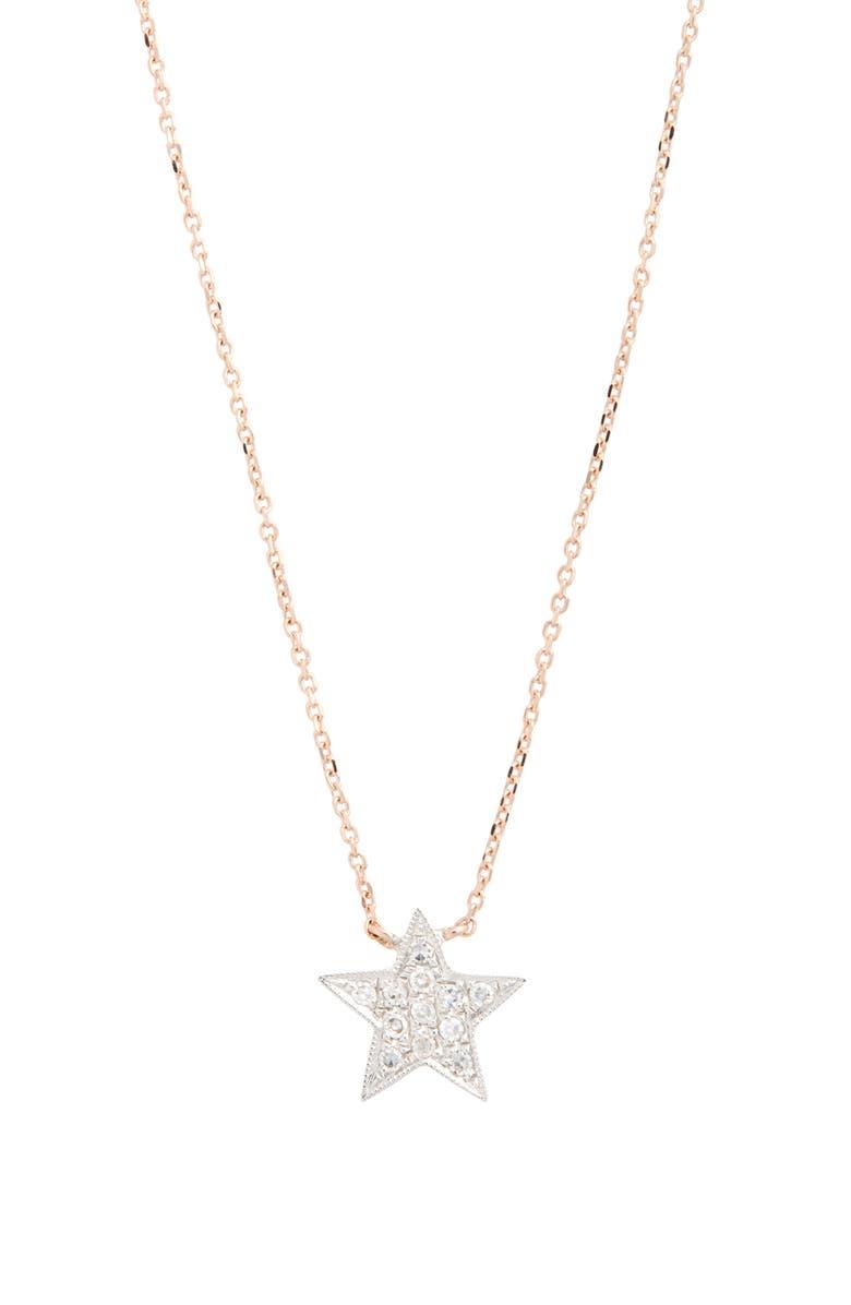 DANA REBECCA DESIGNS 'Julianne Himiko' Diamond Star Pendant Necklace, Main, color, ROSE GOLD/ WHITE GOLD