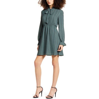 Vero Moda Zenac Geo Print Long Sleeve Short Dress, Green