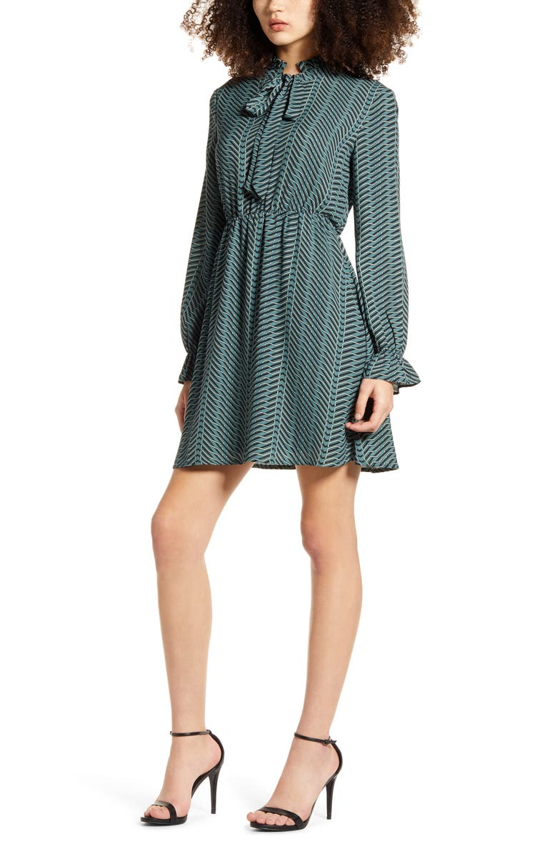 VERO MODA Zenac Geo Print Long Sleeve Short Dress, Main, color, NORTH ATLANTIC
