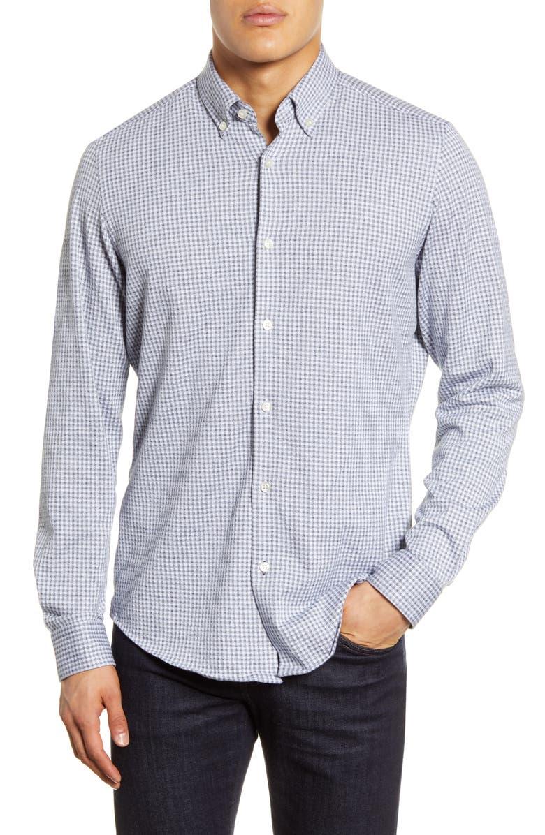 BOSS Lod Regular Fit Button-Down Shirt, Main, color, DARK BLUE