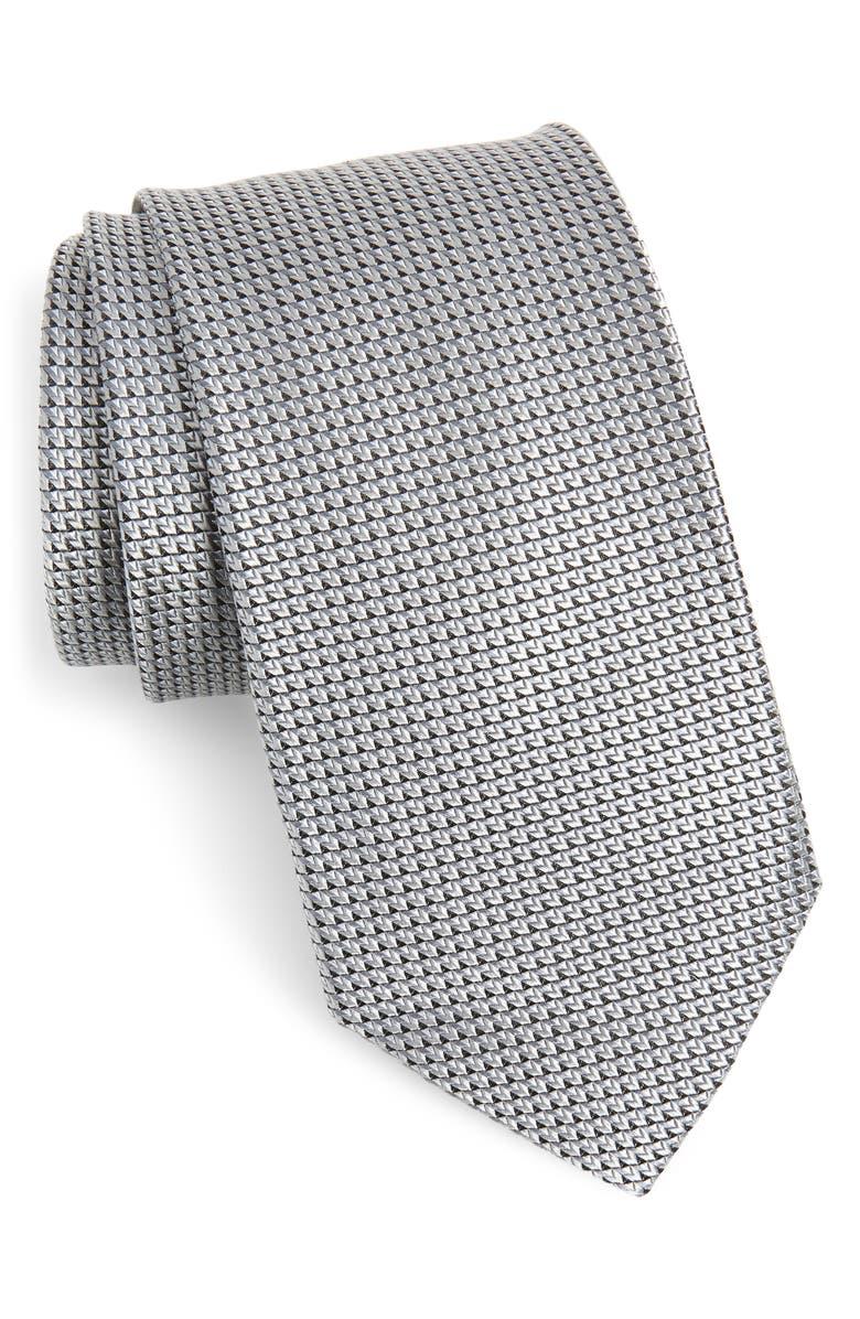 NORDSTROM MEN'S SHOP Solid Silk Tie, Main, color, SILVER