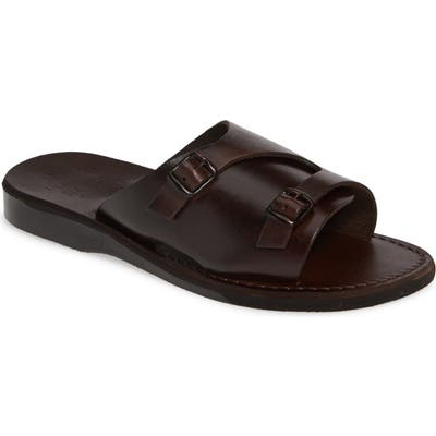 Jerusalem Sandals Seth Slide Sandal,10.5 - Brown