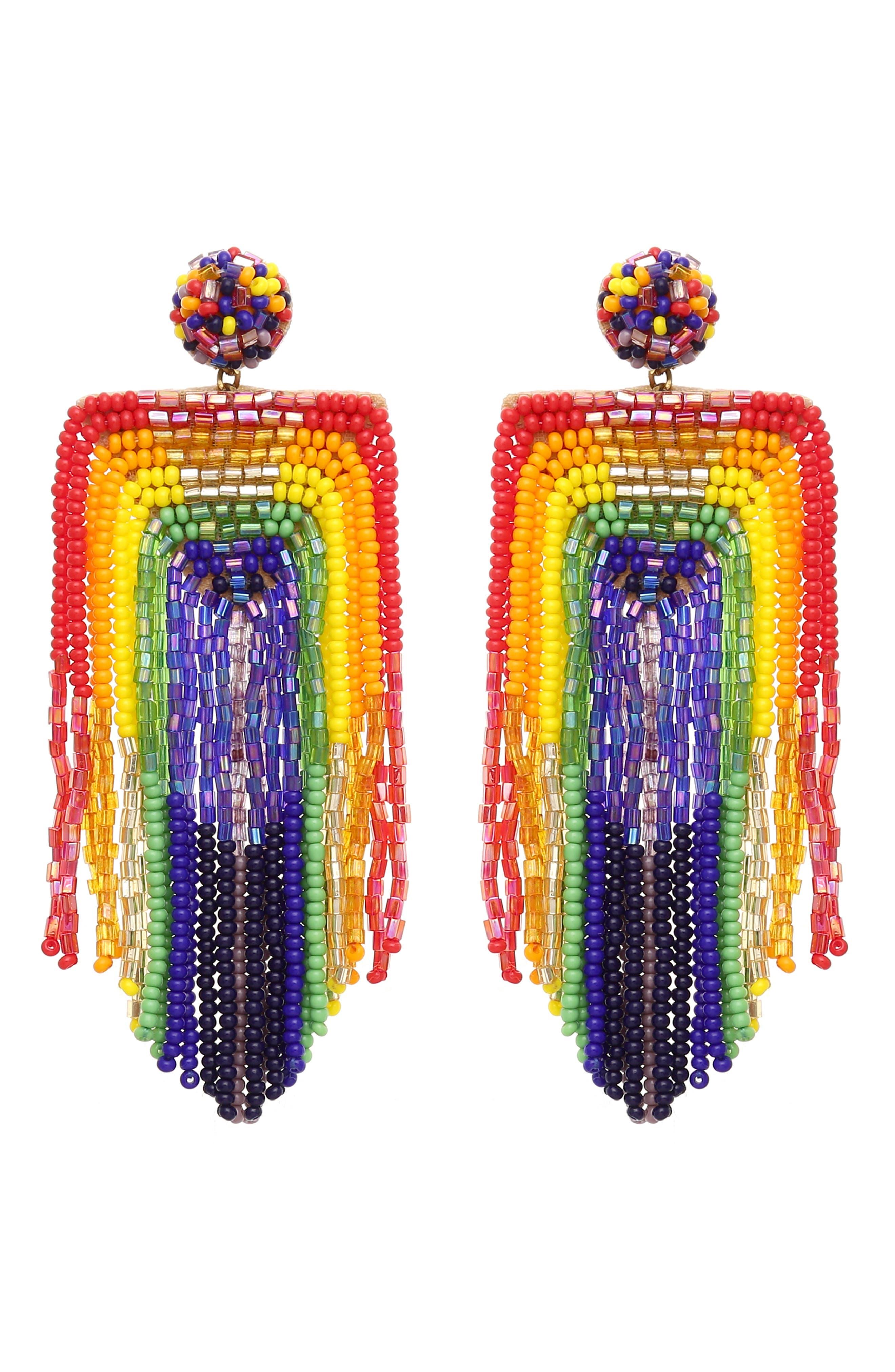 Becka Rainbow Fringe Earrings