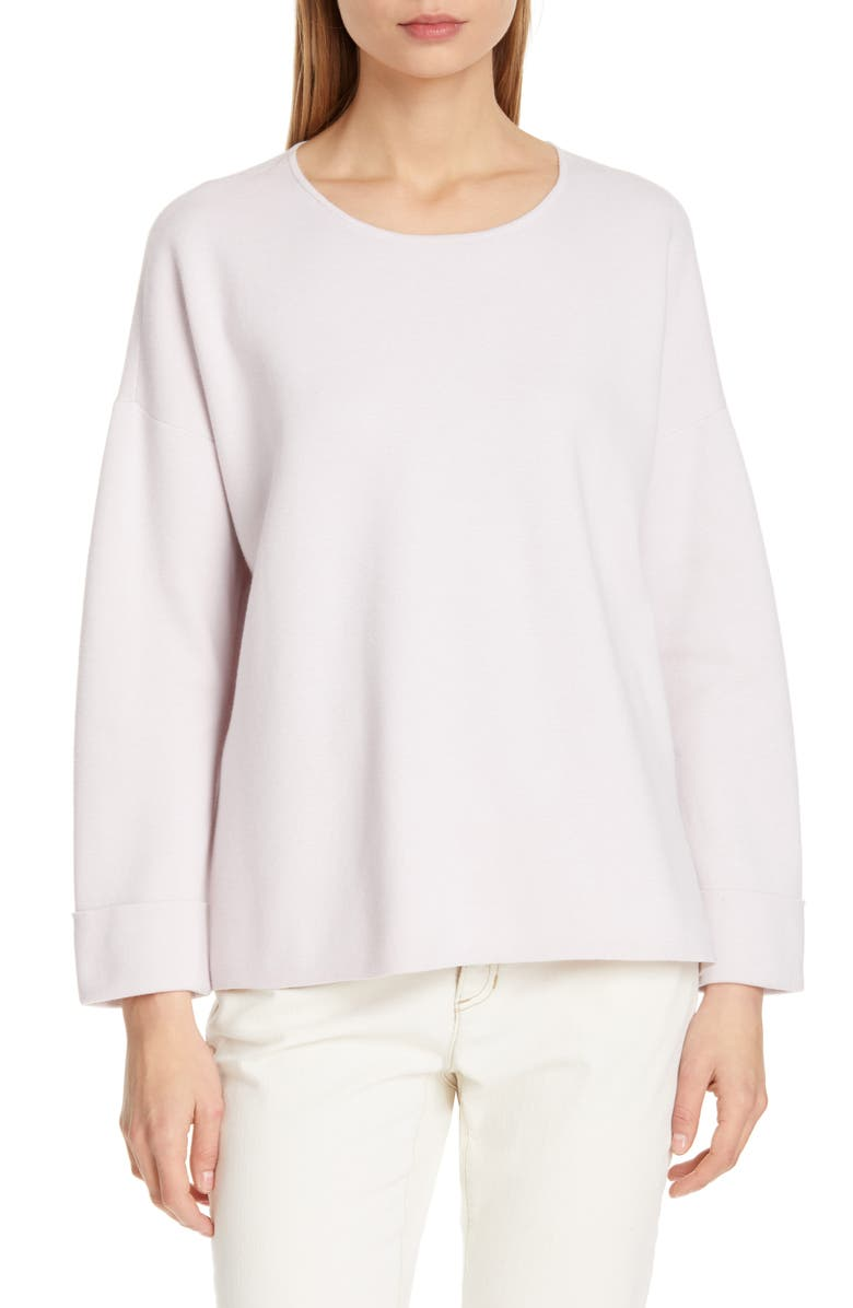 EILEEN FISHER Boxy Organic Cotton Blend Sweater, Main, color, 530