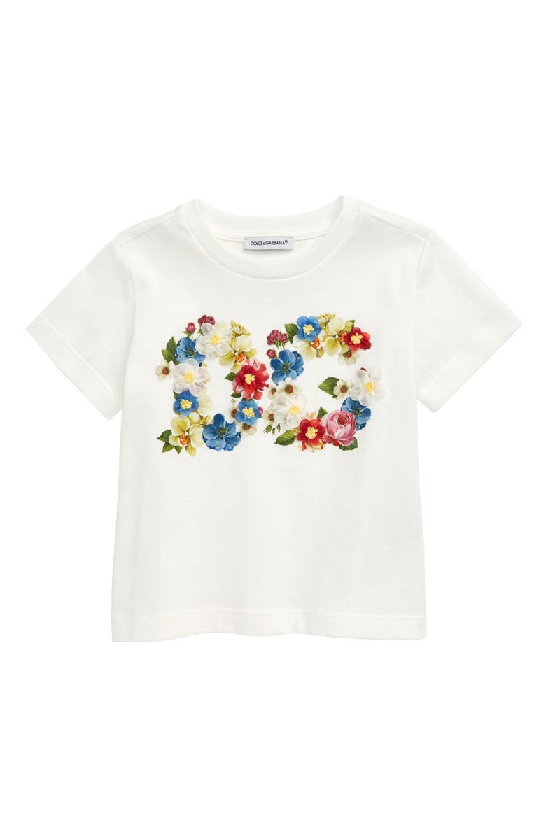 DOLCE&GABBANA Embellished T-Shirt, Main, color, MIX FIORI FDO.BIANCO