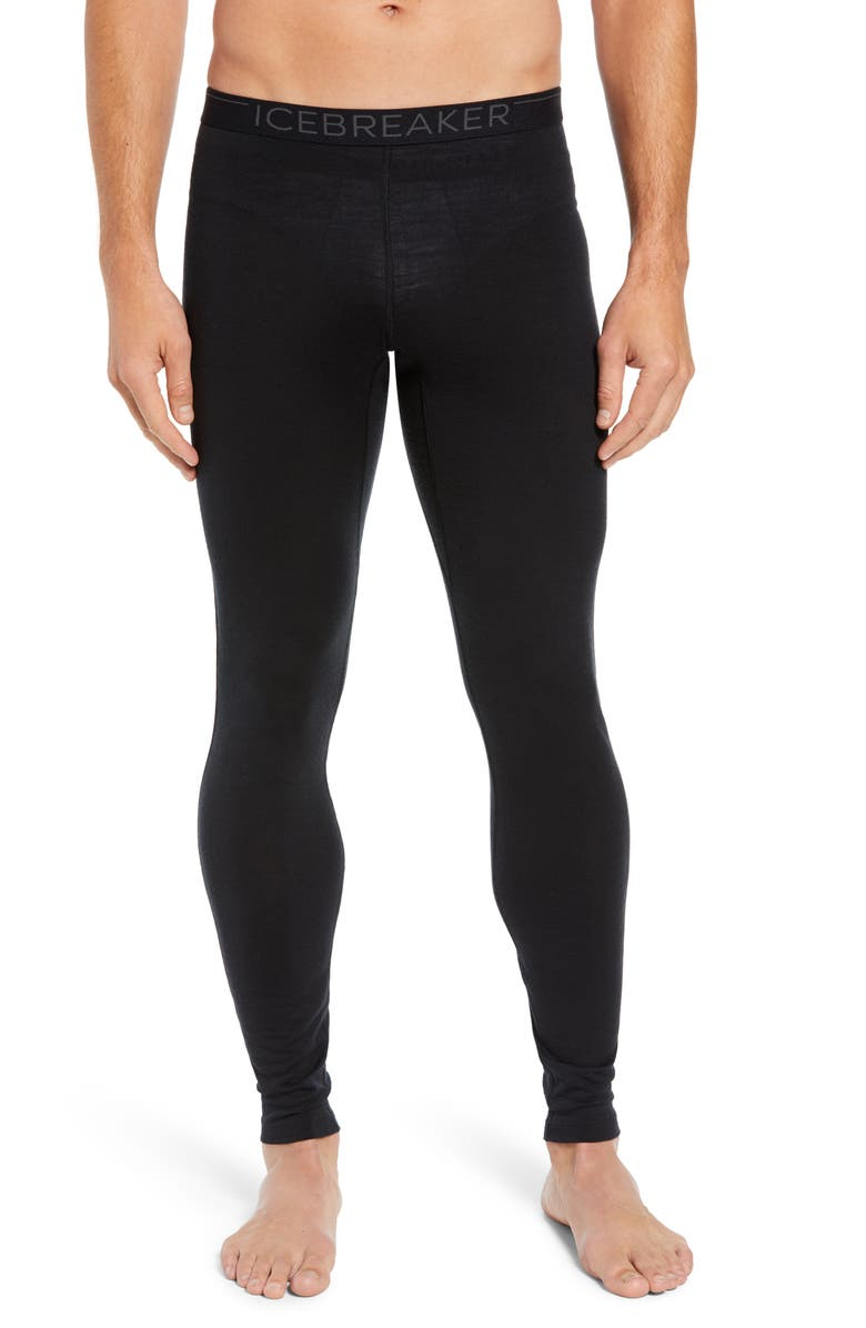 ICEBREAKER Oasis Slim Merino Wool Jersey Base Layer Leggings, Main, color, BLACK
