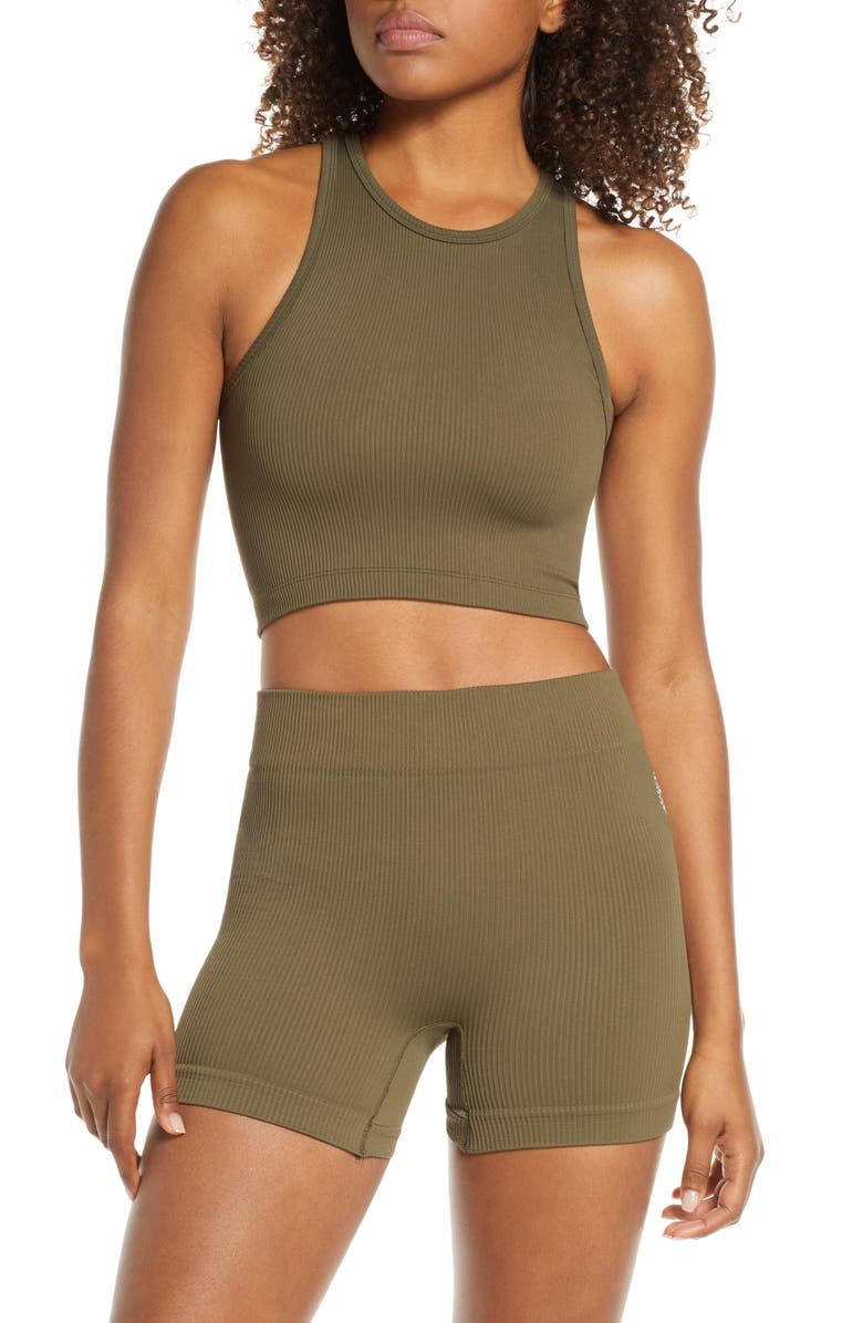 FREE PEOPLE MOVEMENT Roxy Seamless Crop Tank, Main, color, ARMY