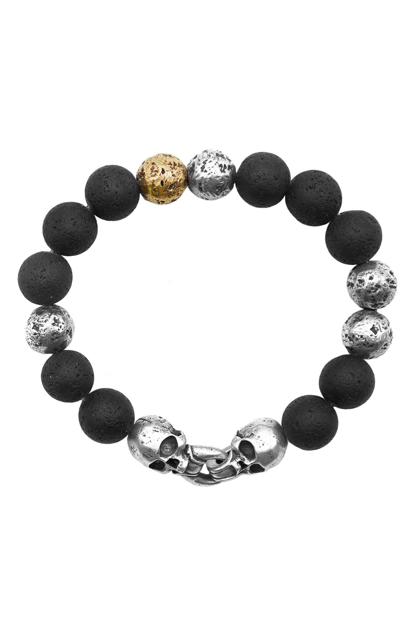 Women's John Varvatos Distressed Sterling Silver & Stone Skull Bead Bracelet