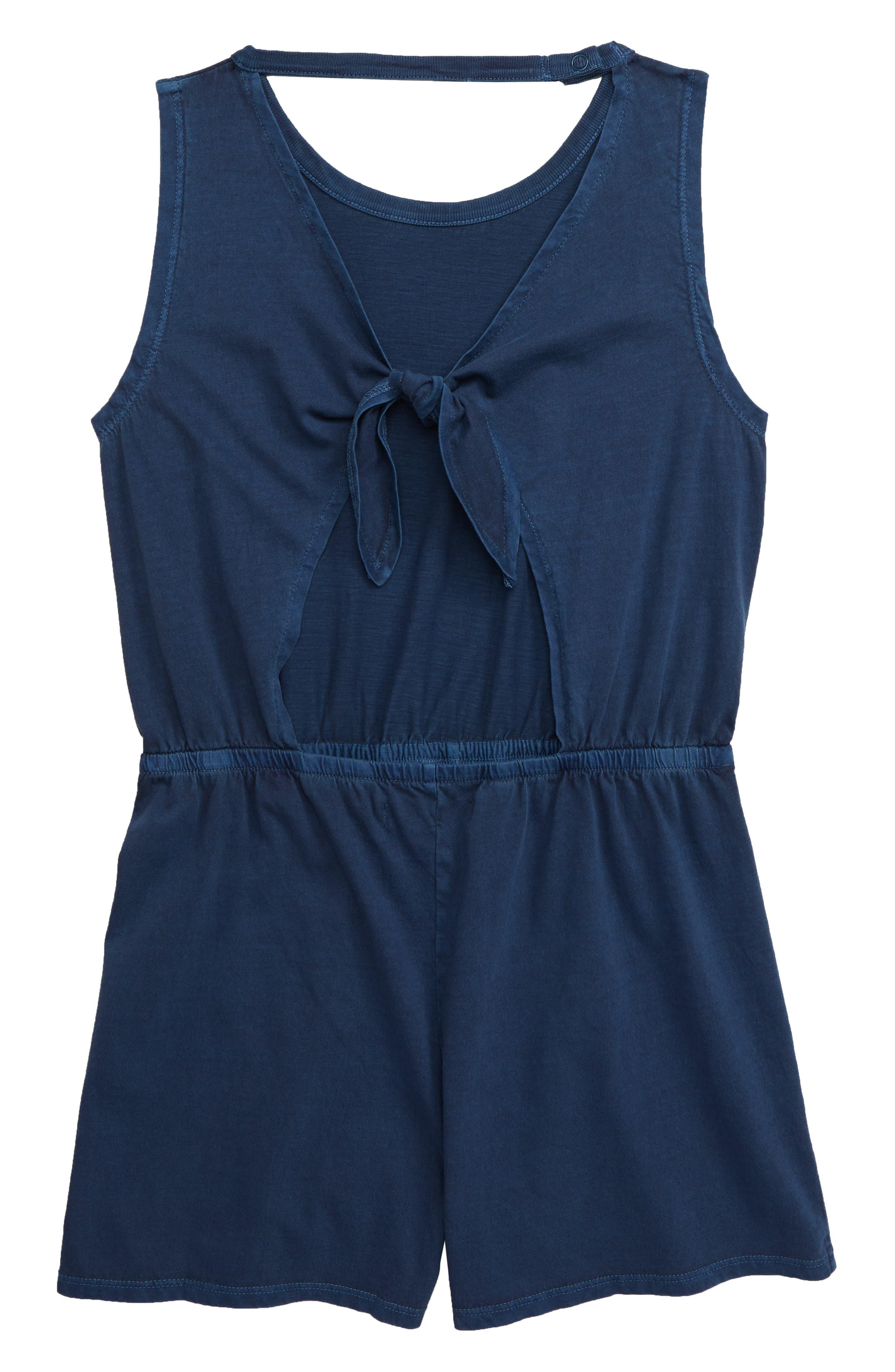 ,                             Tie Back Knit Romper,                             Alternate thumbnail 2, color,                             BLUE WING