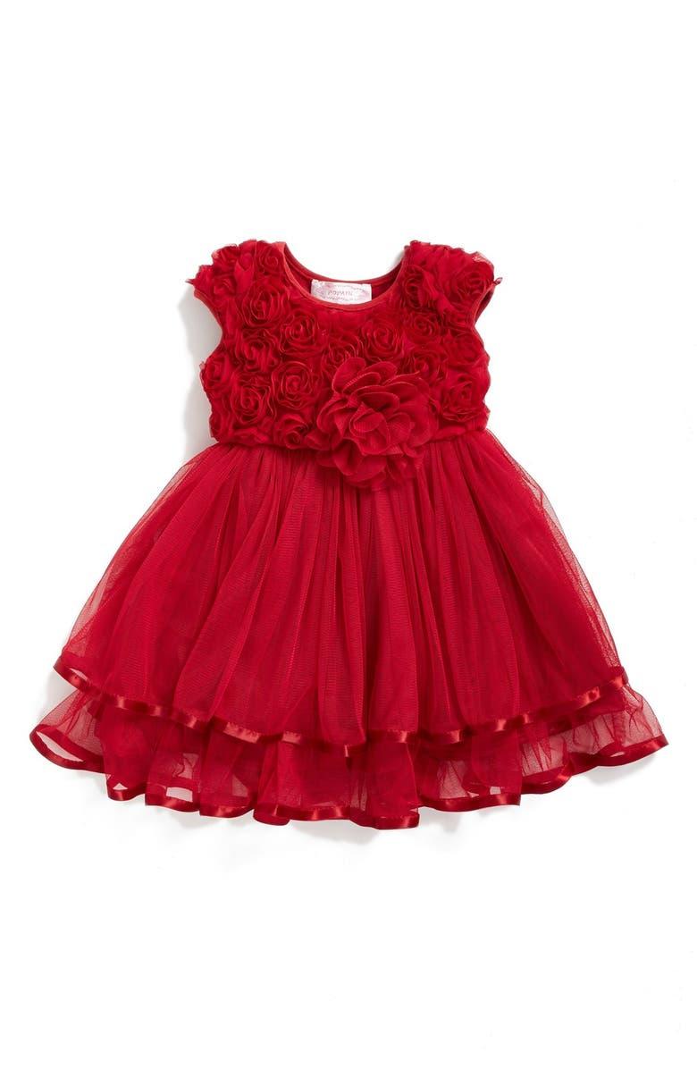 POPATU Rosette Tulle Dress, Main, color, RED