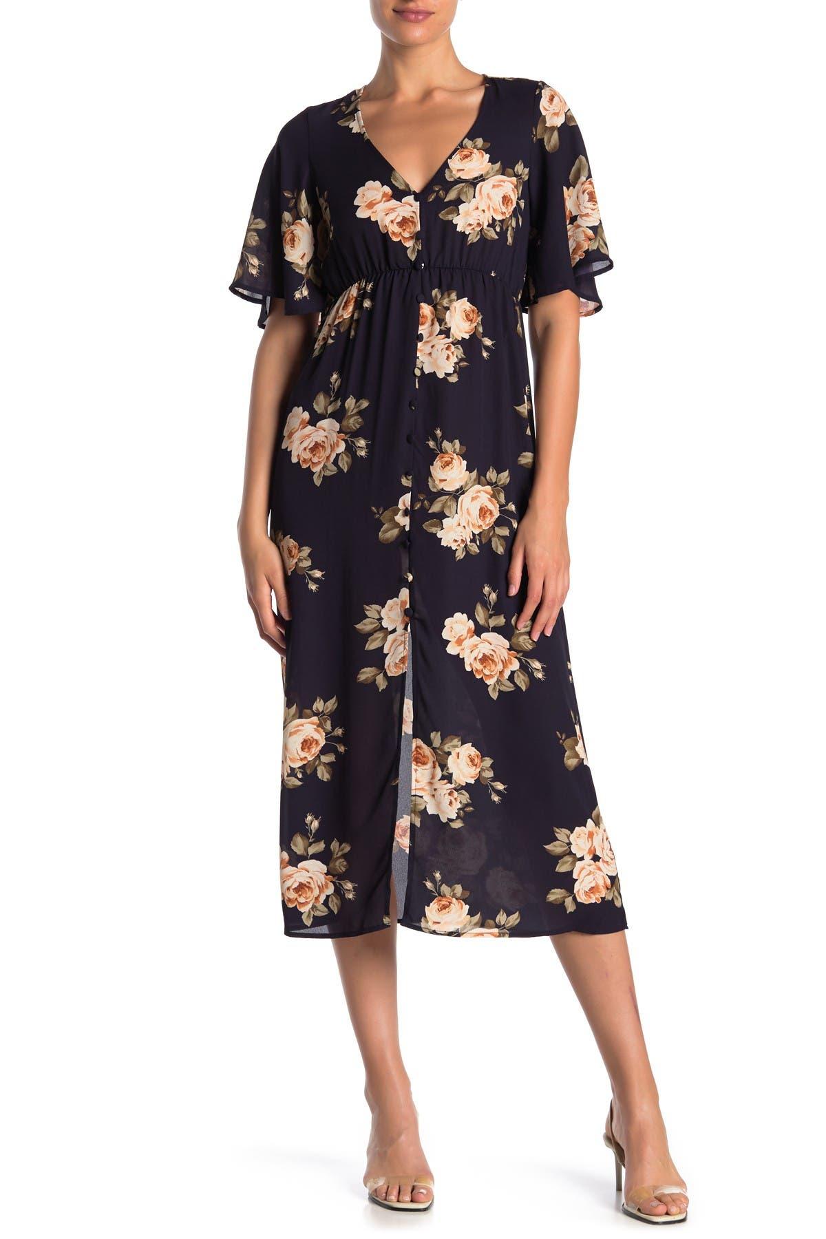Image of KENEDIK Angel Sleeve Floral Print Dress