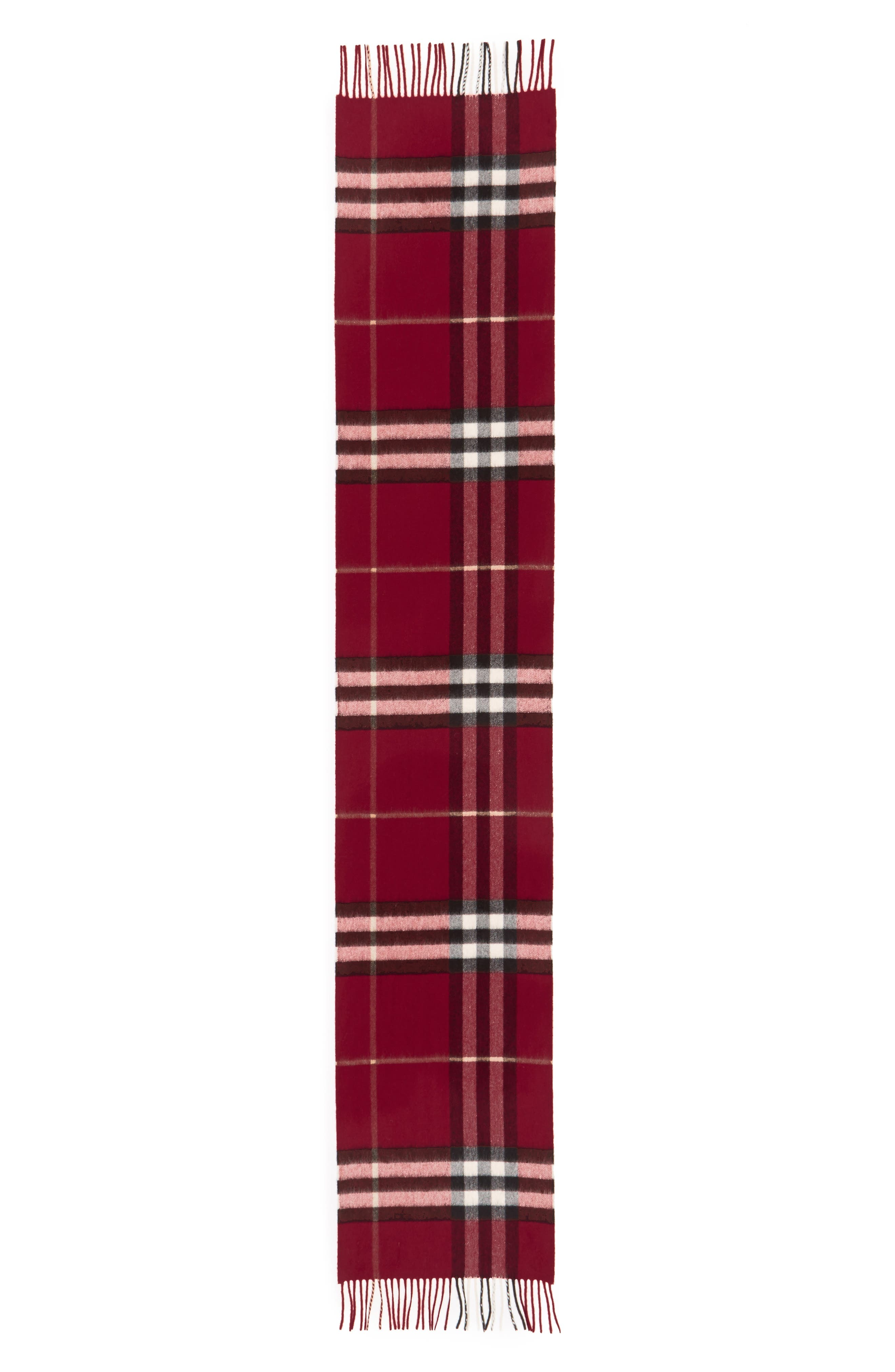 ,                             Giant Check Cashmere Scarf,                             Alternate thumbnail 3, color,                             PARADE RED