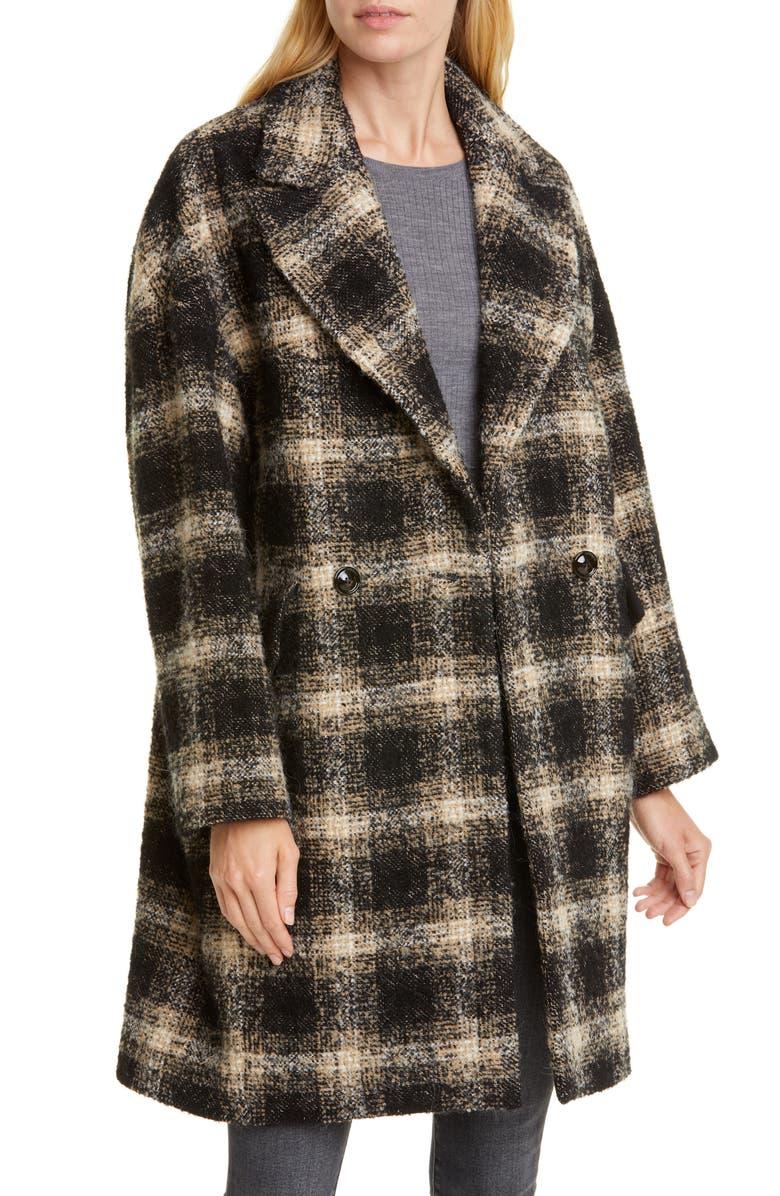 IRO Karsh Plaid Double Breasted Coat, Main, color, BLACK/ ECRU