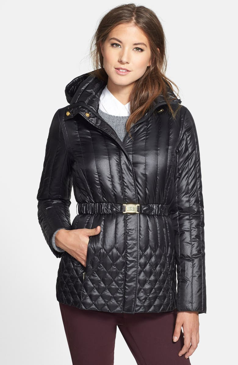 ELLEN TRACY Belted Packable Down Jacket, Main, color, 001
